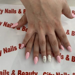 Pointed Nail Design On Pointed Nail Shape With Marble Nails