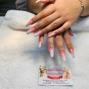 coffin shape pink and white ombre nail extensions
