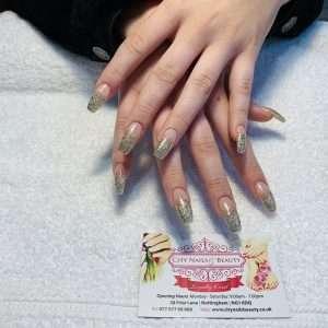 glittering silver tip colour