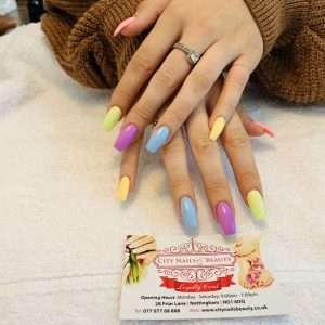 multi colour nail extensions